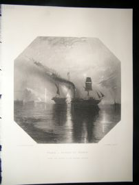 After Turner 1860 Antique Print, Peace - Burial of Wilkie, Maritime, Art Journal